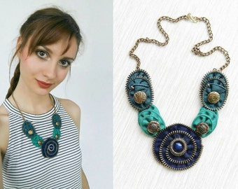 Zipper necklace, Zipper Jewelry, Handmade Jewelry, Gift for her