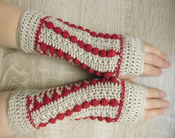 MADE TO ORDER 16098 Beige-red mittens, Crochet mittens, Fingerless gloves, Fingerless mittens, Crochet fingerless gloves, Gloves