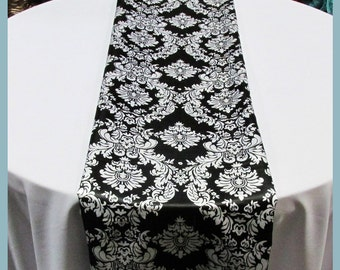 "4 Pcs. 15"" X 108"" Damask Charmeuse Table Runner Wedding Decoration Black / White"