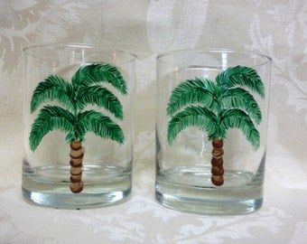Hand Painted Palm Tree Tumbler Glass-1