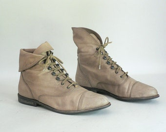 Womens Tan Leather Granny Lace Up Ankle Boots Size 9