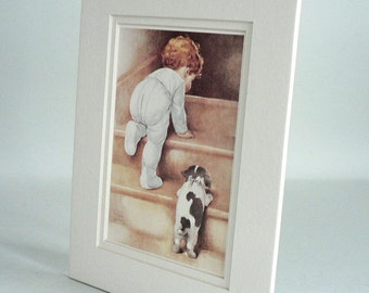 Baby Climbing Stairs With Puppy Picture by Gutmann