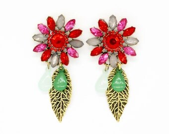 Exotic large cheerful flower drop & dangle earrings, golden leaf
