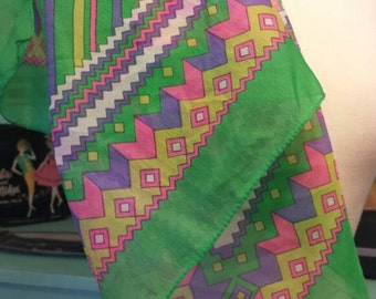 Bright Geometric Scarf 25x25 Sheer 80s 70s