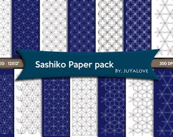 80% OFF SALE Sashiko pattern , Digital Paper , Sashiko paper pack , Sashiko background , Deep Blue & White , Digital Scrapbook paper pack