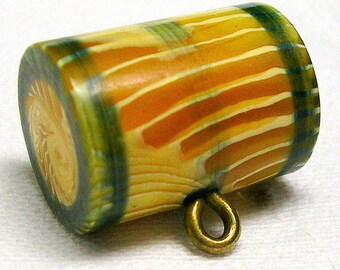 Fabulous Art Deco Celluloid Button~ Marion Weeber ~ Apple Juice & Ivory Striated Barrel ~ Hand Painted ~