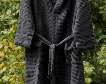 LINEN BATHROBE  Graphite black linen / cotton  bathrobe, high quality soft  robe, LinenBuy