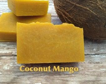 Coconut Mango Bar Soap Lush Homemade Organic Vegan Moisturizer Cold Process Soap Cocoa Butter
