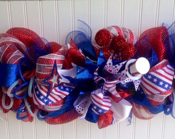 Patriotic deco mesh,4th if july garland,memorial day garland ,labor day garland ,veterans day garland