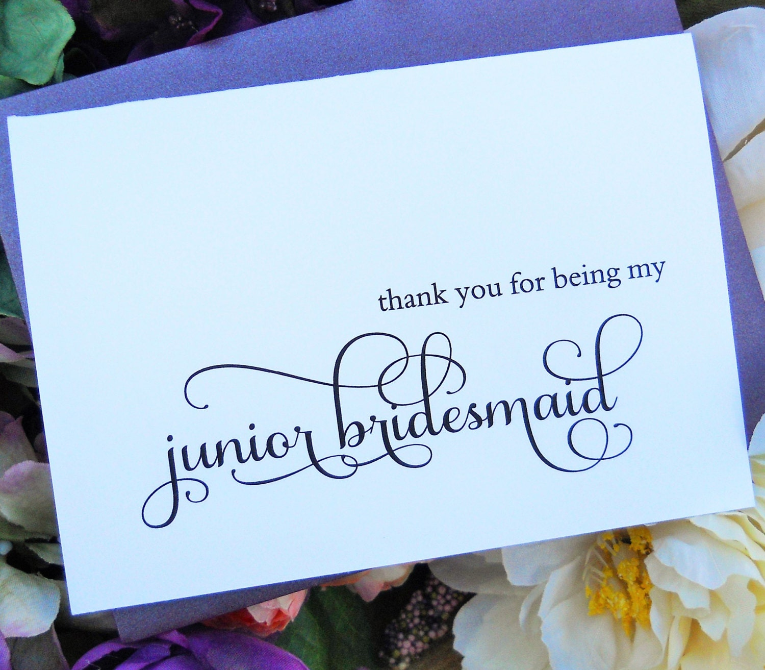 thank you for being my junior bridesmaid card shimmer