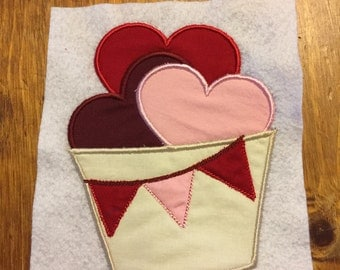 Embroidered and Appliqued Kids Clothes-Basket Full of Hearts Valentine's Long Sleeve Shirt or Onesie
