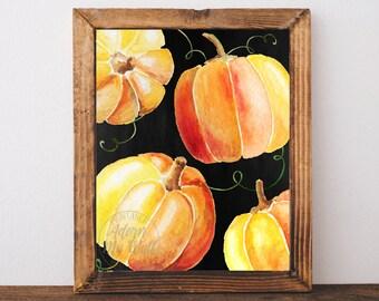 Pumpkin print, fall decor, Halloween print, printable, autumn, fall print, pumpkin printable, pumpkin art, pumpkin decor, Halloween wall art