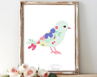 Nursery bird print, baby shower gift, nursery printable, art nursery art nursery decor, nursery print, nursery wall decor, baby girl nursery