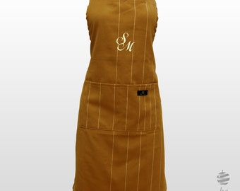 Adult Adjustable Apron with Personalized Monogram – Dark yellow