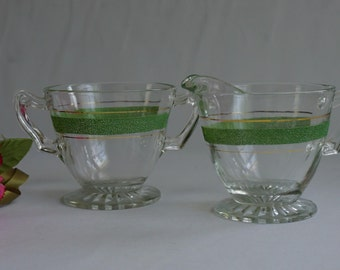 MCM Mid Century Glass Green Gold Cream and Sugar Set