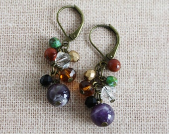 Amethyst earrings- Earth Color