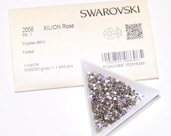 1440 pieces Genuine Swarovski 2058 ss7 2.2mm Foiled Flat backs No Hotfix Clear 001 Austria Sealed Factory Pack Crystals Nail arts Bling