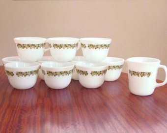 Vintage Pyrex Spring Blossom Round Bottom Coffee mugs/Tea cups, Set of 9 plus single Creamer cup, made in 1970s