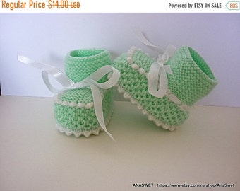 on sale Knitted baby booties/slippers/shoes in mint green with a ribbon.0-6m