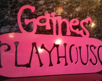 Kid's Playhouse Sign - All Metal Painted