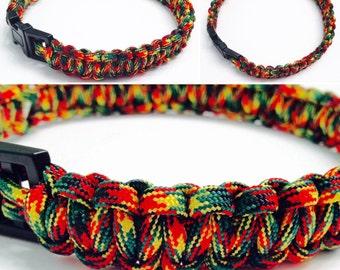 Paracord Dog Collar - Red, Yellow, and Green Paracord Dog Collar - Rasta Dog Collar - Rasta Paracord Dog Collar - Macrame Dog Collar