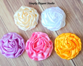 """Rolled Shiny Rosettes, 3"""" Fabric Flowers, Headband Flowers, DIY Craft Flowers, You Pick the Colors"""
