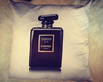 Coco Chanel Inspired Black Perfume Bottle Cushion