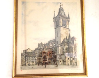Antique Vladislav Rohling Czech Hand Colored Etching Art Numbered Signed