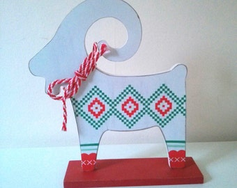 Vintage Swedish Christmas Goat Decoration in White with Scandinavian Pattern