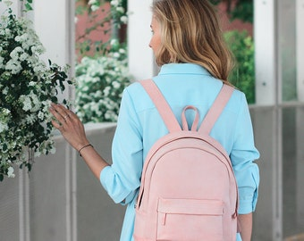 handmade pink powder color leather woman backpack gift / men woman/