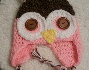 Crochet Owl  Hat - Toddler