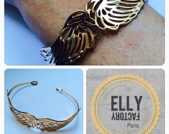 Gold plated cuff wings bracelet