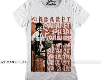 CABARET woman t-shirt, scoop neck, white t-shirt, retro tees, vintage print, fashion t-shirt, retro man t-shirt