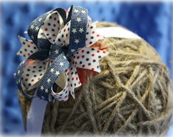 Red White and Cute Fourth of July Headband Bow