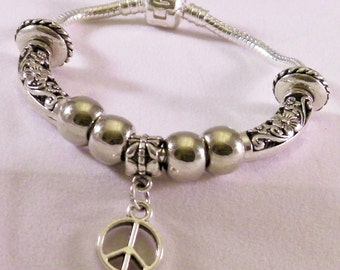 Snake Chain Silver Tone Peace Sign Bracelet
