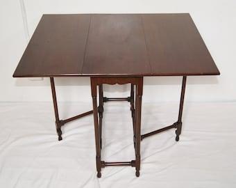 Antique Edwardian Mahogany Drop Leaf Folding Sutherland Tea Side Table
