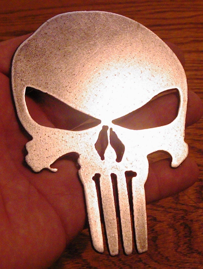 Skull Man Cave Decor : Inch metal art punisher skull wall decor for man cave