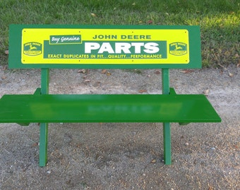 Vintage Inspired Wood Bench with John Deere Sign