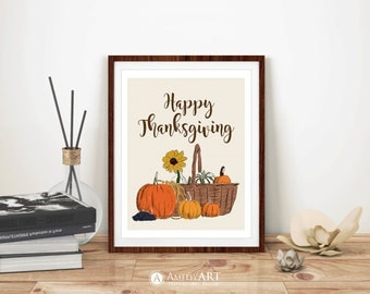 Happy Thanksgiving Sign Printable Wall Art Thanksgiving Quote Decor Festive Harvest Fall Decoration Autumn Home Decor DIY Digital Download