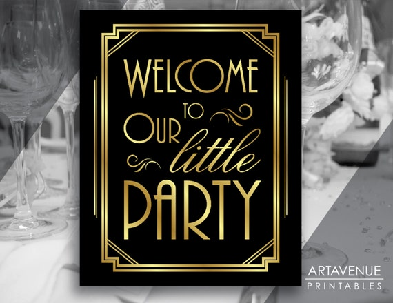 Art Deco Party Welcome Printable Sign Gatsby Wedding Roaring