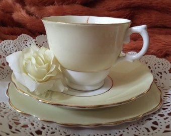 Vintage English Bone China teacup with saucer and side plate - candle