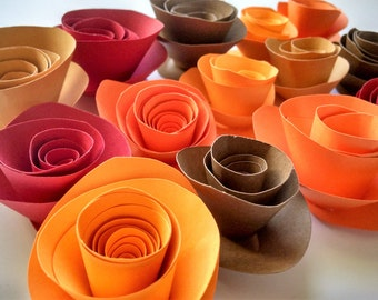 DIY Fall Decor - Bright Fall Colored Paper Flowers