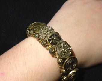 Vintage Gold Button Bracelet