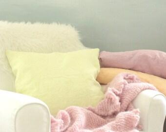 Linen pillow - handdyed lime - european linen - 50cm - 20inch - colourful linen pillow - throw pillow linen - linen cushion cover - yellow