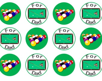 Father's Day Edible Toppers, Snooker Cake Toppers, Pool Toppers, Cupcake Toppers, Gift For Dad, Edible Cake Topper