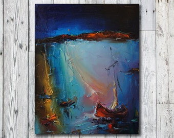 Oil Painting Abstract, Surreal Painting, Modern Art, Contemporary Art, Abstract Seascape, Original Art, Abstract Oil Painting, Canvas Art