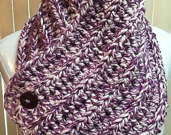 Neck Warmer Scarf, Button Scarf, Neck Warmer Cowl, Crochet Neck Warmer, Button Cowl, Purple Scarf, Button Cowl Scarf, Crochet Button Scarf