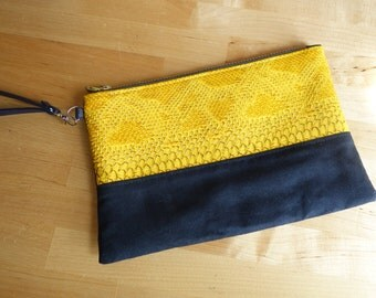 Yellow pouch Navy Blue Suede and crocodile effect