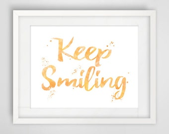 Quote poster, illustration keep smiling, good decoration mood