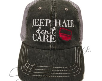 Jeep Hair Don't Care Trucker Hat - Red Jeep Grill (Choose your OWN Jeep Grill Color to match Your OWN Jeep)
